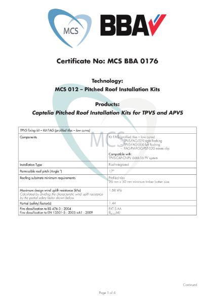 MCS BBA 0176 Certificate