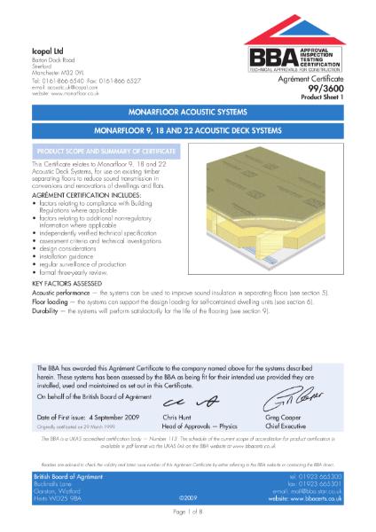 99/3600 Monarfloor acoustic flooring systems