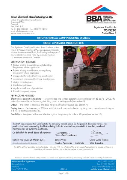 BBA Certificate 95/3210 Triject 3 Pressure Injection DPC