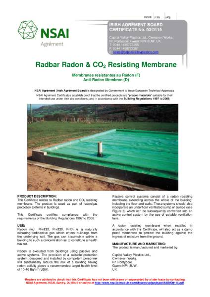 Radbar Radon & CO2 Resisting Membrane