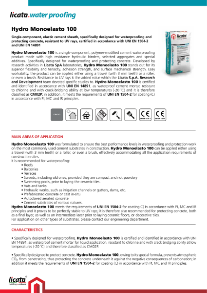 Licata Waterproofing Hydromonoelasto