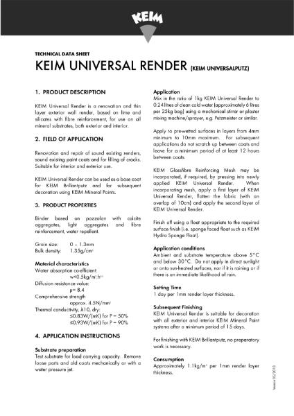 Keim Universal Render Technical Data Sheet