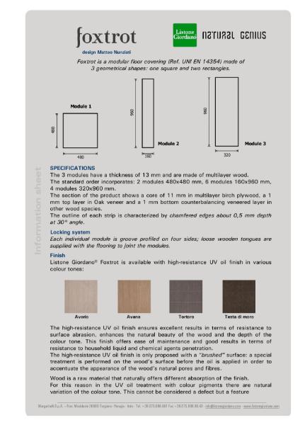 NATURAL GENIUS COLLECTION: Foxtrot Technical Sheet