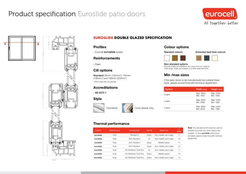 Euroslide Double Glazed Patio Door Product Specification