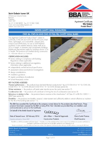 90/2465 CWS 36, CWS 34 adn CWS 32 Full Fill Cavity Wall Slabs