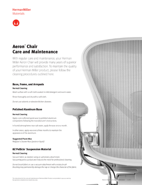 Aeron Chair - Care & Maintenance Guide