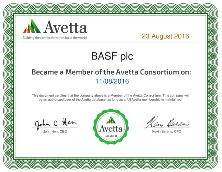 Avetta Consortium Certificate