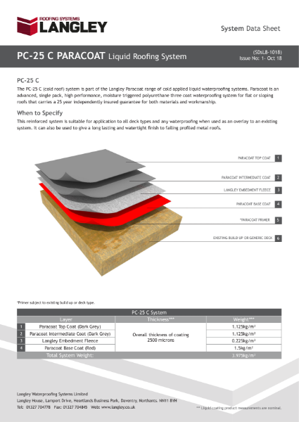 PC-25 C Paracoat Liquid Roofing System Data Sheet