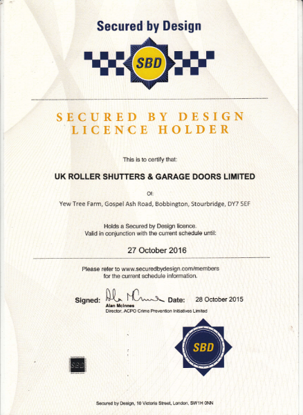 Secured by Design Certificate