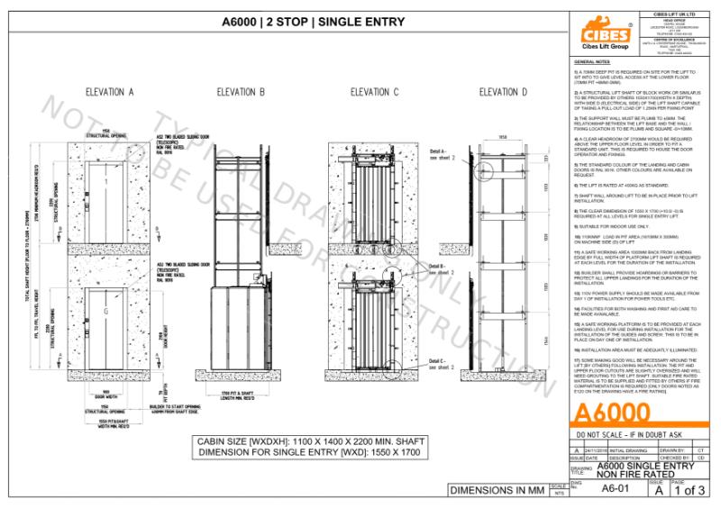 A6000 Cabin style platform Lift 2 Stop single entry.