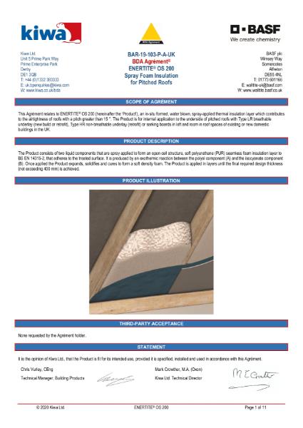 Enertite BDA Certification - Pitched Roof