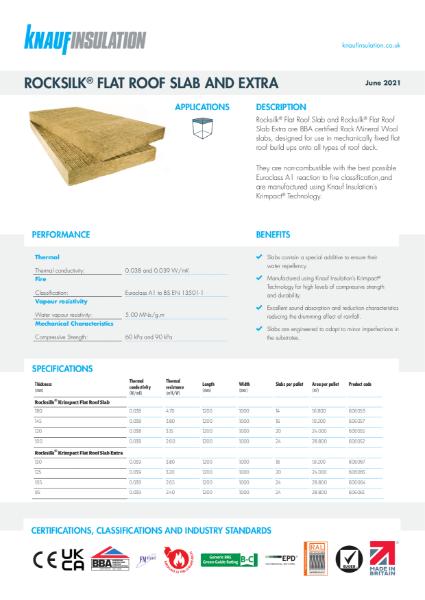 Rocksilk® Krimpact Flat Roof Slabs Data Sheet
