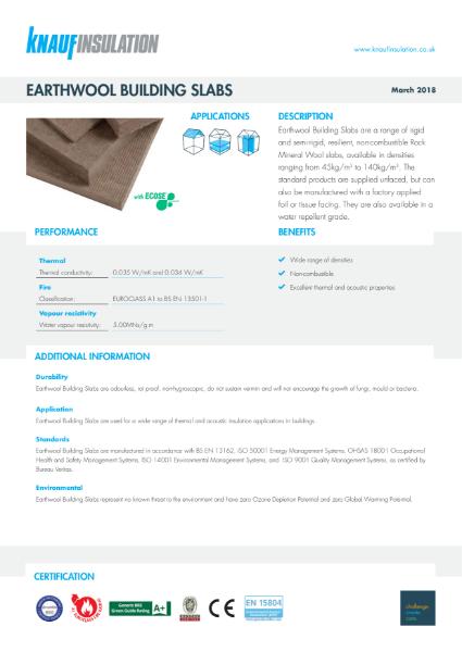 Knauf Insulation Rocksilk® Building Slab RS45 Insulation Data Sheet