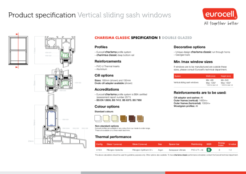 Charisma Vertical Slider Windows Classic Thermal Inserts Product Specification