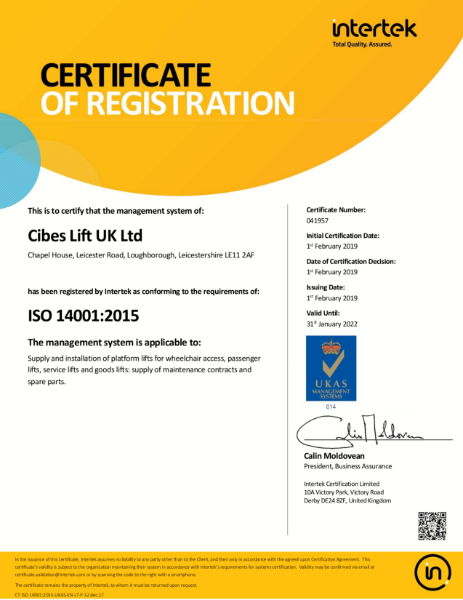 Cibes Lift UK ISO 14001