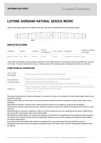 NATURAL GENIUS COLLECTION: Medoc Technical Sheet