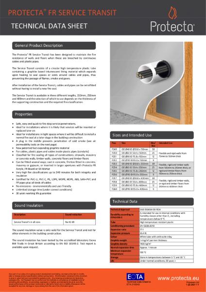 Protecta FR Service Transit  - Technical Data Sheet