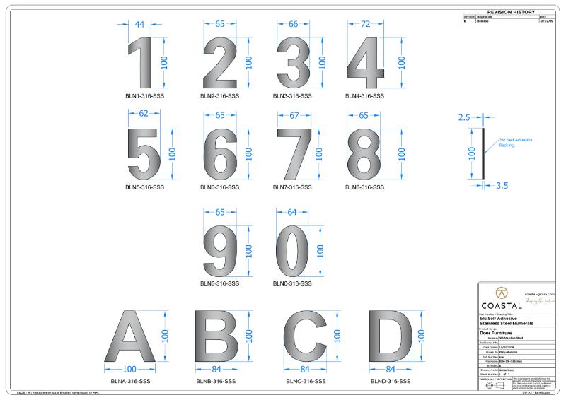 BLU™ - BLN Door Numerals CAD