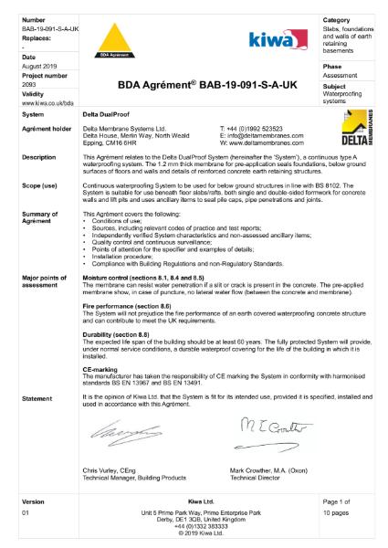 BDA Certificate - Delta DualProof