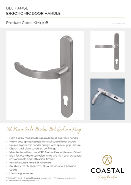 BLU™ - KM130 Ergonomic Lever Door Handle Data Card