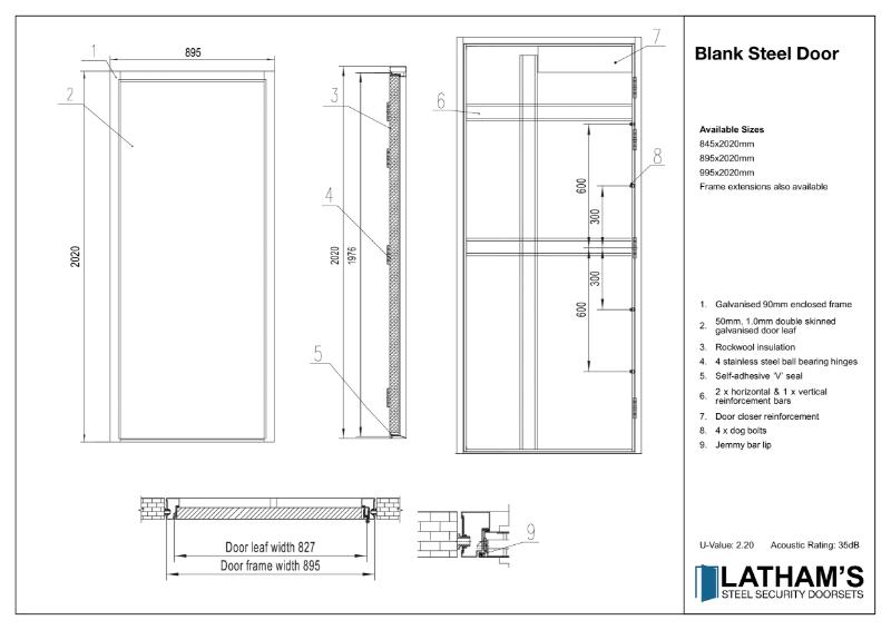 Security Steel Blank Door