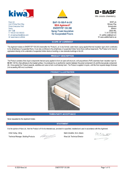 Enertite BDA Certification - Suspended Floors
