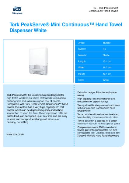 Tork Peakserve Mini Continuous  Hand Towel Dispenser, white