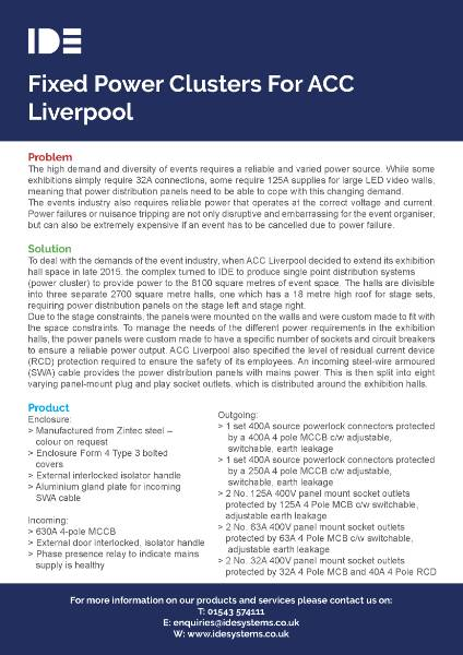 Fixed Power Clusters For ACC Liverpool