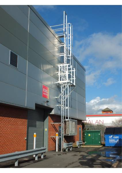 Fixed utilitarian access system - fixed access ladder, multi-stage with mid-height platform and anti-climb guard