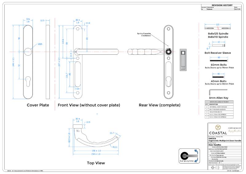 BLU™ - KM130 Ergonomic Lever Door Handle CAD