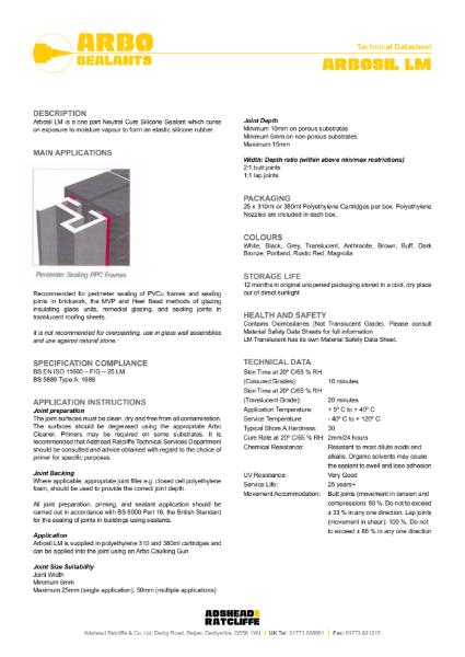 Arbosil LM - Low Modulus Silicone Sealant