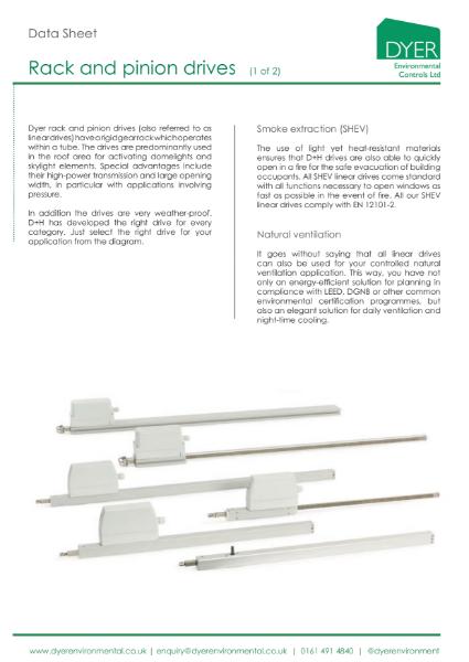 Data Sheet: Rack and Pinion Drives
