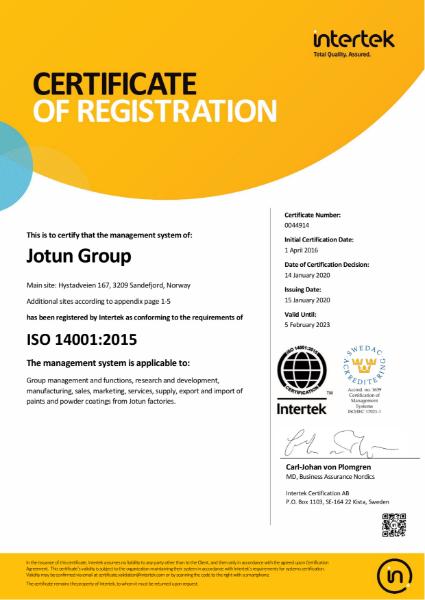 Jotun Paints ISO 14001 accreditation