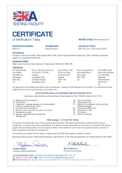 CMD Betatrak Test Certificate - BS EN 61534-22: 2014 & IEC 61534-22 Edition 2.0, 2014-06