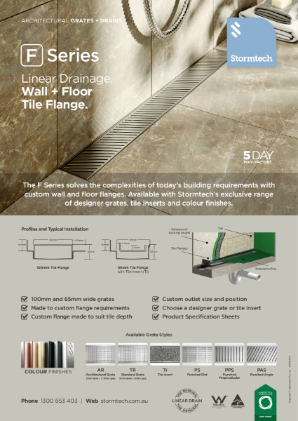 F Series linear drainage - wall and floor tile flange