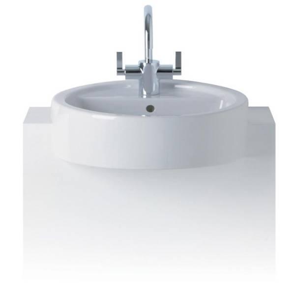 White 45 cm Semi-Countertop Washbasin