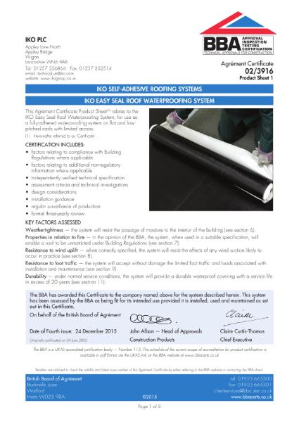 02/3916_1 IKO Easy Seal Roof Waterproofing System