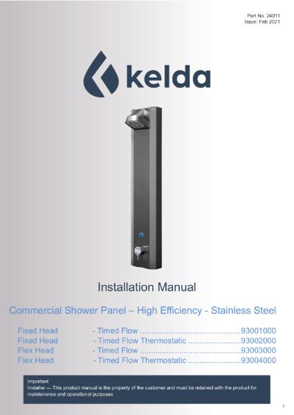 Kelda Showers - Installation Manual - Commercial Shower Panel