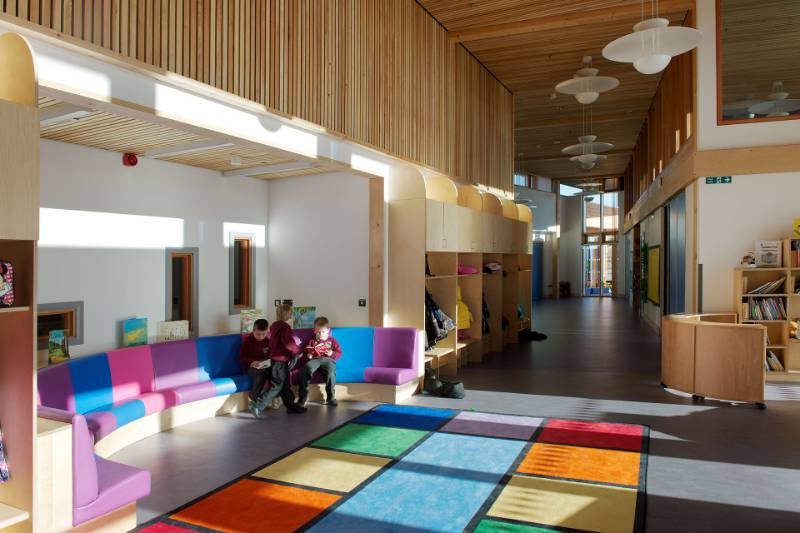 Integral finger guards - Cwm Ifor Primary School