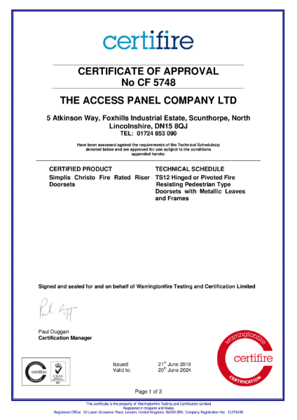 Christo Riser Door Certifire Approval