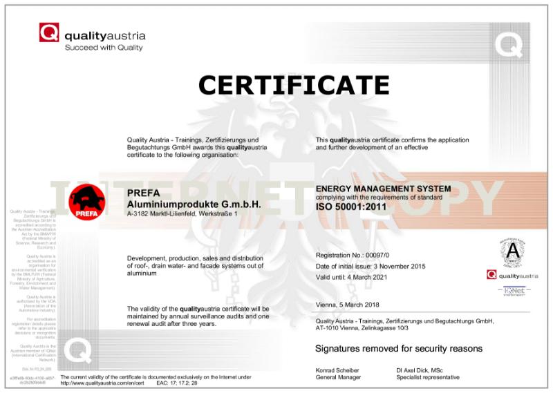 PREFA ISO 50001 Certificate