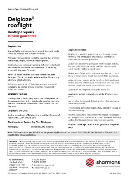 Delglaze rooflight refurbishment system specification