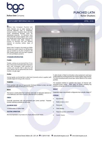 Punched Lath Roller Shutters