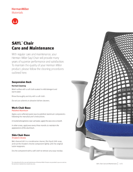 Sayl Chair - Care and Maintenance