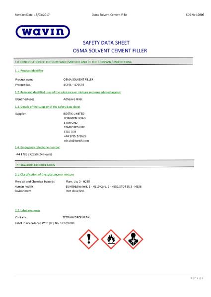 MSDS - OSMA Solvent Cement Filler