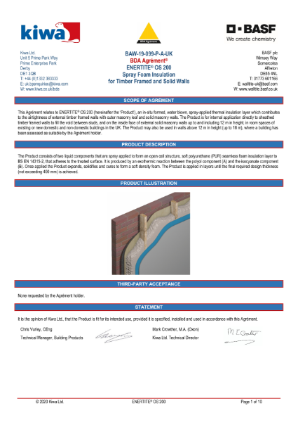 Enertite BDA Certification - Timber Framed & Solid Walls