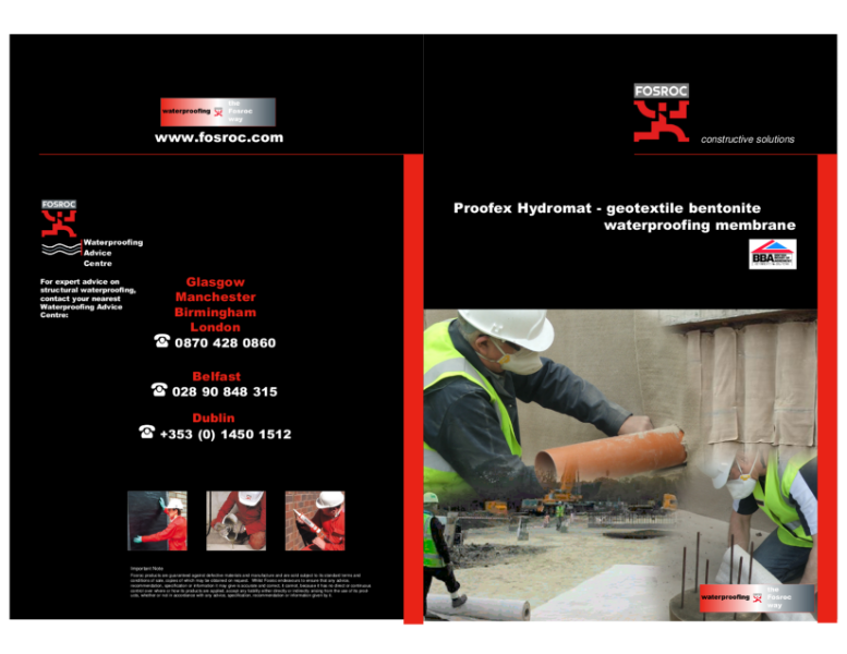 Fosroc Proofex Hydromat Brochure 2012.3