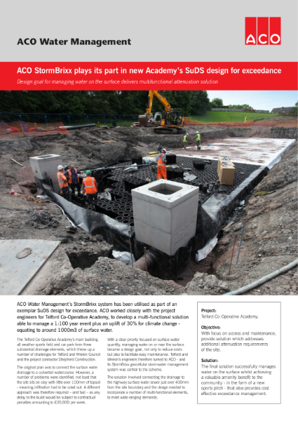 ACO StormBrixx plays its part in new Academys SuDS design for exceedance