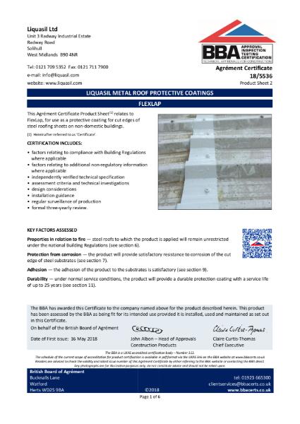 MetalSeal SF and MetalSeal 20, Liquasil Metal Roof Protective Coatings, Product Sheet 1 - Certificate: 18/5536