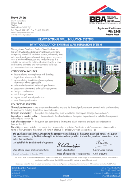 98/3548 DRYVIT OUTSULATION EXTERNAL WALL INSULATION SYSTEM